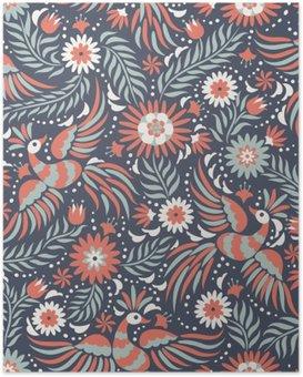 Poster Meksika nakış seamless pattern. Renkli ve süslü etnik desen. Koyu kırmızı ve siyah arka plan üzerinde kuşlar ve çiçekler. Parlak etnik takı ile floral background.