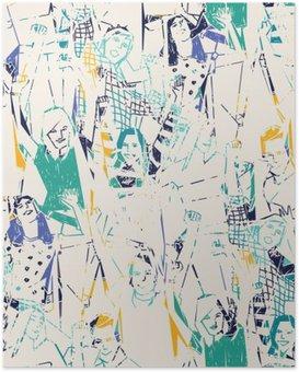 Poster Mutlu gençlerin soyut seamless pattern.