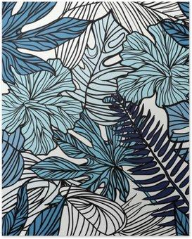 Poster Palmiye yeşil yaprakları ile tropik egzotik çiçekler ve bitkiler.