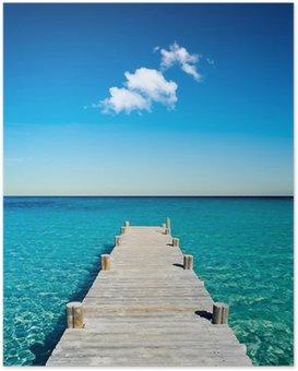Poster Plage vacances ponton bois
