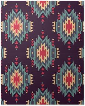 Poster Vektör sorunsuz dekoratif etnik desen. Amerikan Hint motifleri. Aztek aşiret takı ile Arkaplan.