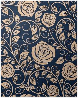 Poster Vintage güller çiçekler seamless pattern