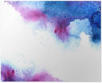 Poster Abstract blauw en violet waterige frame.Aquatic backdrop.Hand getekende aquarel stain.Cerulean splash.