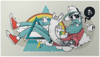 Poster Abstract graffiti hippie