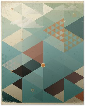 Abstract Retro Geometric Background with clouds Poster