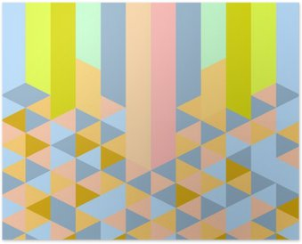 abstract retro geometric pastel art deco style pattern Poster
