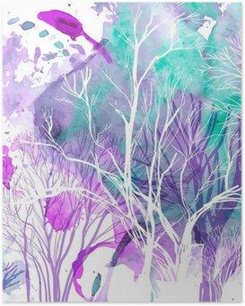 Poster Abstract silhouet van bomen