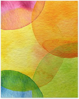 Abstract watercolor circle painted background Poster