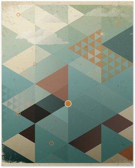 Poster Abstracte Retro Geometrische Achtergrond met wolken