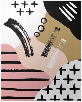 Poster Abstracte Scandinavische compositie in zwart, wit en pastel roze.