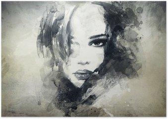Poster Abstrakt kvinna stående