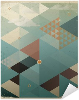 Poster Abstrakt Retro geometrisk bakgrund med moln