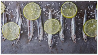 Anchovy Fresh Marine Fish.Appetizer. selective focus. Poster