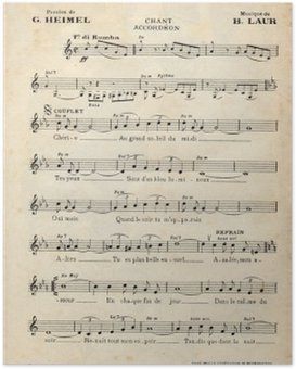 Poster Antique feuille de musique vintage français.