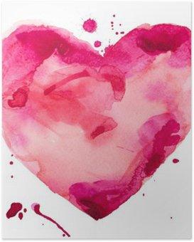 Poster Aquarel hart. Concept - liefde, relatie, kunst, schilderen