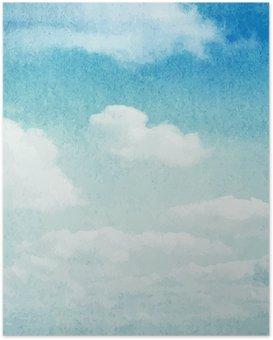 Poster Aquarel wolken en hemel achtergrond