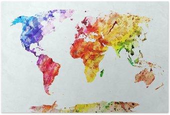 Poster Aquarelle carte du monde