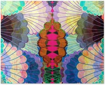 Poster Aquarelle éléments abstraits multicolores