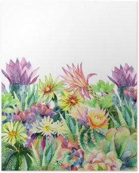 Poster Aquarelle floraison cactus fond