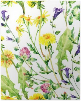 Poster Aquarelle Meadow fleurs sauvages seamless pattern