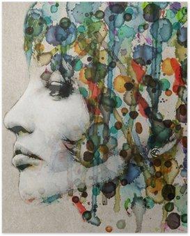 Poster Aquarelle profil femelle