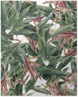 Poster Aquarelle sur papier des feuilles et des fleurs, motif sans couture