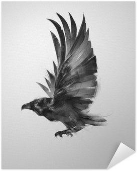 Póster Autoadhesivo Aislado de aves de forma gráfica volando cuervo negro