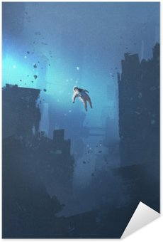 Póster Autoadhesivo Astronauta flotando en ciudad abandonada, espacio misterioso, pintura ilustración