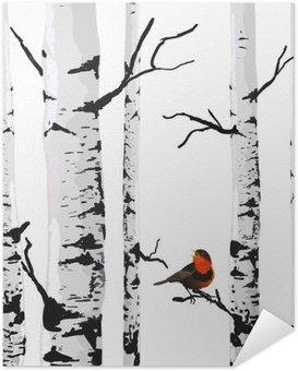 Póster Autoadhesivo Aves de abedules, dibujo vectorial con elementos editables.