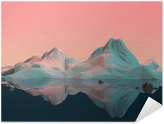 Póster Autoadhesivo Baja-Poly paisaje de la montaña 3D con agua y Reflexión