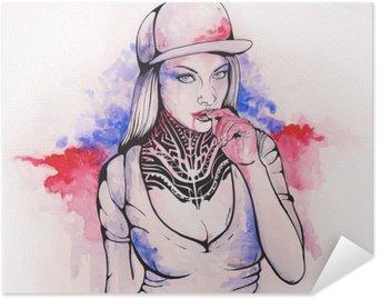 Póster Autoadhesivo Chica en una gorra y tatuajes