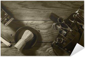 Póster Autoadhesivo Conjunto de la vendimia de la sepia Barbershop.Toning