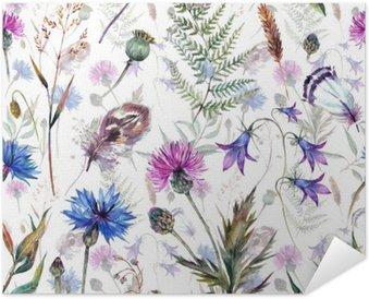 Póster Autoadhesivo Dibujados a mano flores silvestres acuarela