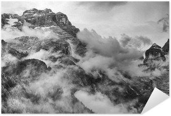 Póster Autoadhesivo Dolomitas Montañas Blanco y Negro