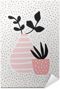 Póster Autoadhesivo Florero de color rosa y la olla con plantas