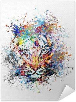 Póster Autoadhesivo Fondo brillante con el tigre