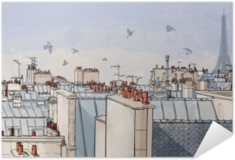 Póster Autoadhesivo Francia - París tejados