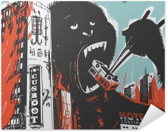 Póster Autoadhesivo Gran gorila destruye la ciudad
