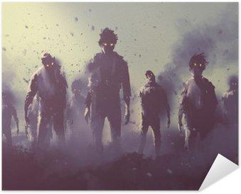 Póster Autoadhesivo Multitud de zombies caminando por la noche, el concepto de Halloween, pintura ilustración