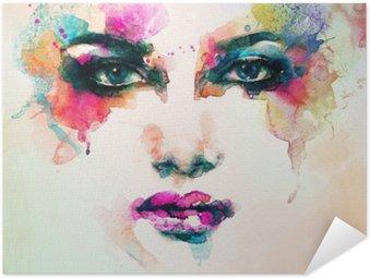 Póster Autoadhesivo Retrato de la mujer. acuarela abstracta. Fondo de la manera