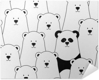 Póster Autoadhesivo Vector sin patrón con los osos polares blancos y Panda