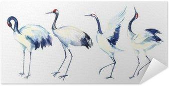 Poster Autocollant Aquarelle grue asiatique ensemble des oiseaux