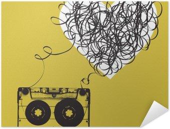 Poster Autocollant Audiocassette avec du ruban emmêlés. forme Haert