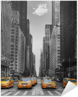 Poster Autocollant Avenue des taxis with à New York.