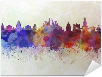 Poster Autocollant Bali skyline en fond d'aquarelle