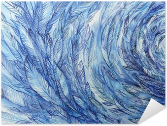 Poster Autocollant blue feathers in a circle, watercolor abstract background