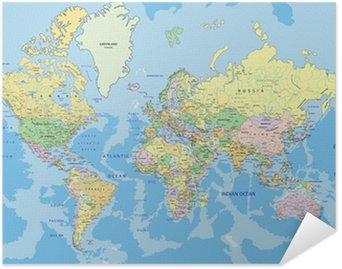 Poster Autocollant Carte politique très détaillée du monde avec l'étiquetage.