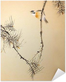Poster Autocollant Chinois oiseau peinture à l'encre et des plantes