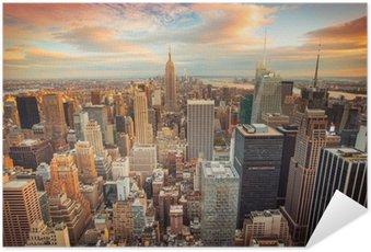Poster Autocollant Coucher de soleil sur New York donnant sur le centre de Manhattan