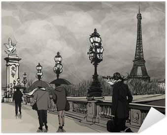 Poster Autocollant Dessin du pont Alexandre III à Paris montrant la Tour Eiffel